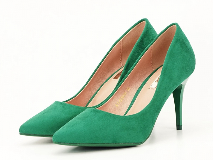 Pantofi verzi office/elegant cu toc mediu Serenity 6