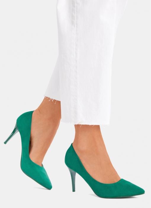 Pantofi verzi office/elegant cu toc mediu Serenity 7