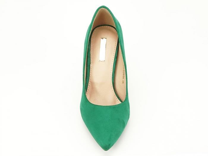 Pantofi verzi office/elegant cu toc mediu Serenity 5