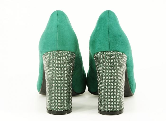 Pantofi eleganti verzi cu toc gros si varf ascutit Alina 5