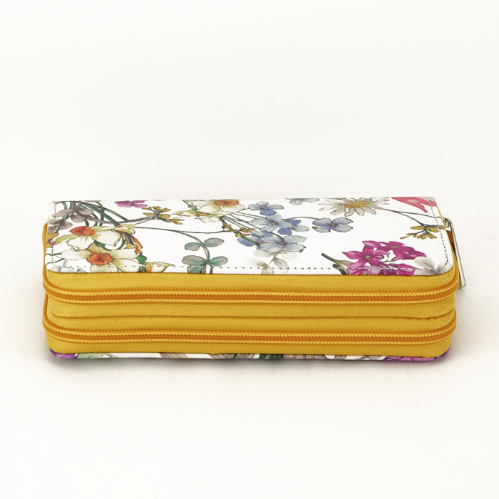 Portofel alb cu galben cu imprimeu floral Coralia [2]