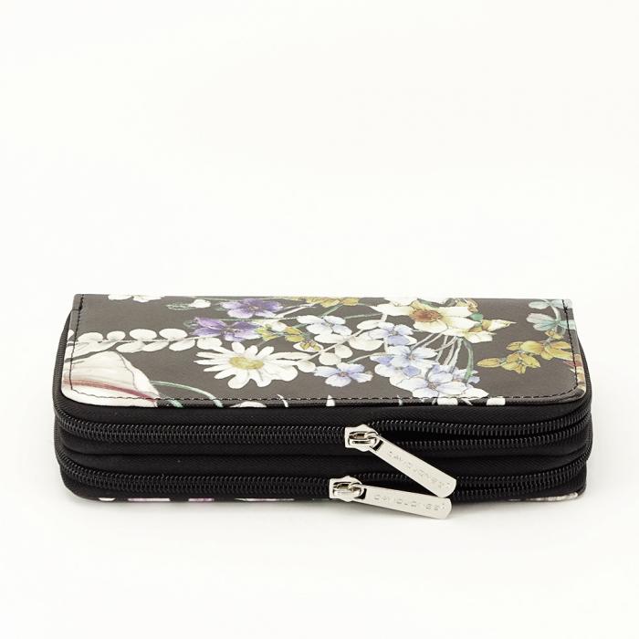 Portofel negru cu imprimeu floral Coralia [2]