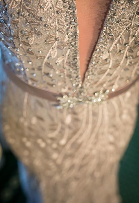 Rochie lunga roz pudrat tip sirena Catinca 3