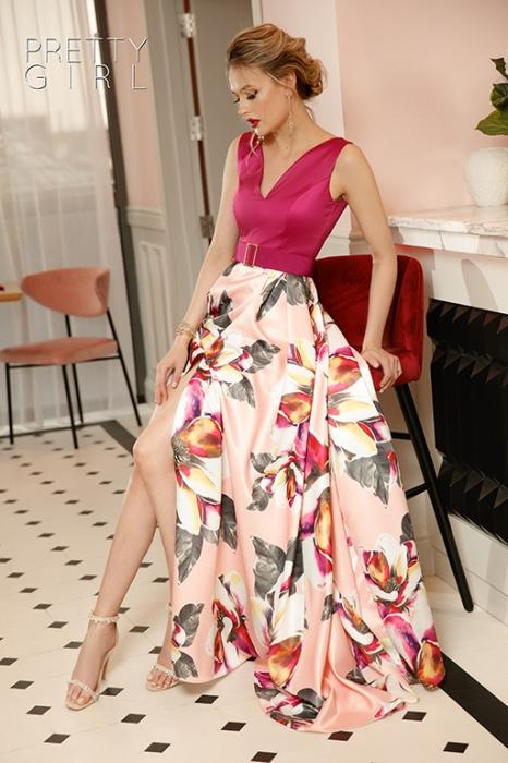 Rochie lunga din tafta cu imprimeu floral Elvira 2