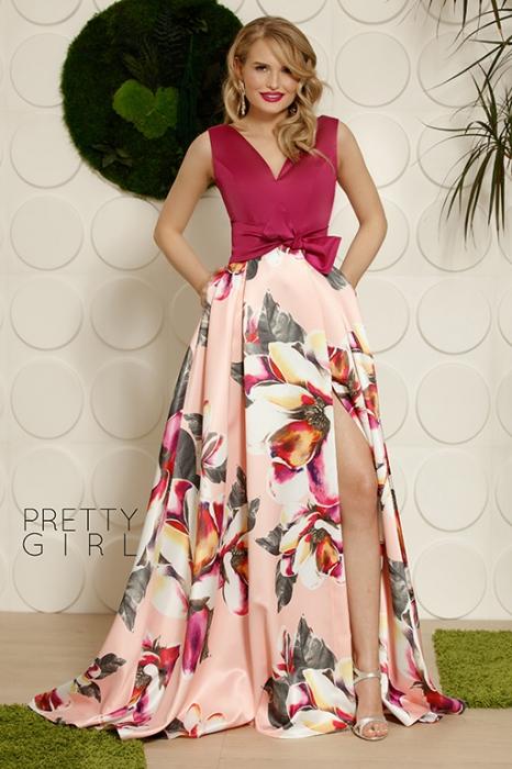 Rochie lunga din tafta cu imprimeu floral Elvira 0