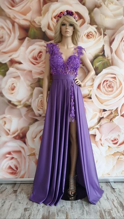 Rochie lunga eleganta lila Aris 0