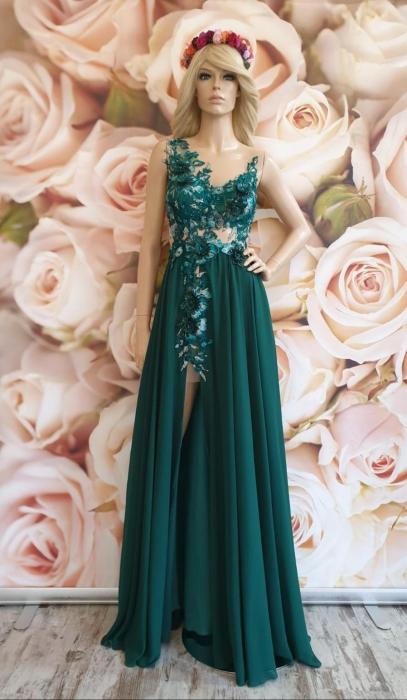 Rochie verde eleganta lunga Powder 0