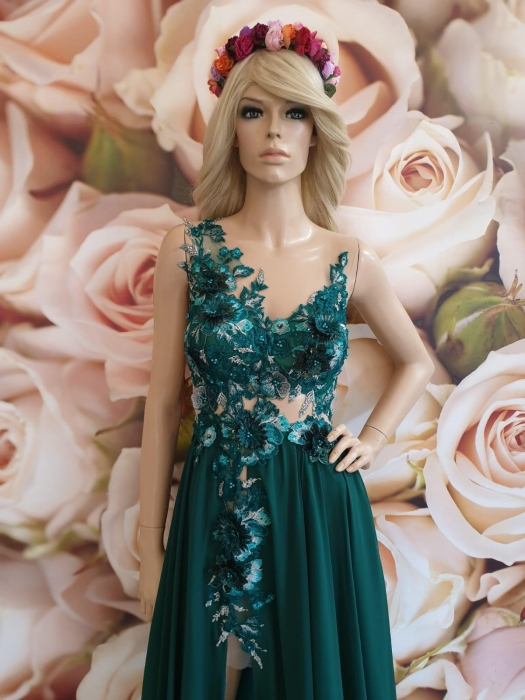 Rochie verde eleganta lunga Powder 1