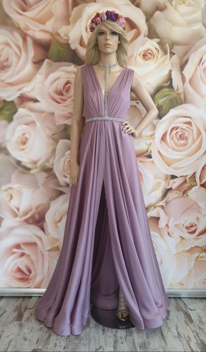Rochie lunga eleganta lila Sensual 0