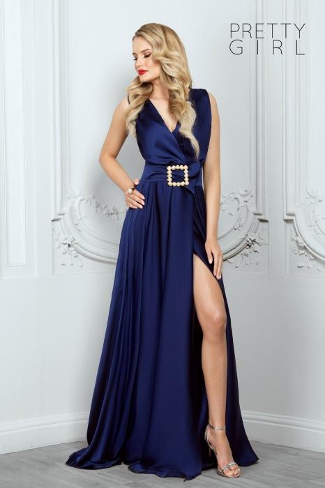 Rochie lunga eleganta bleumarin din triplu voal Athena 0