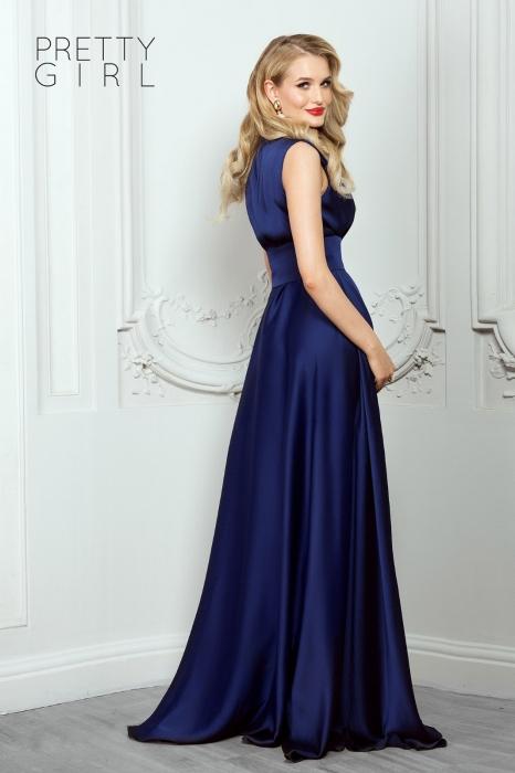 Rochie lunga eleganta bleumarin din triplu voal Athena 1