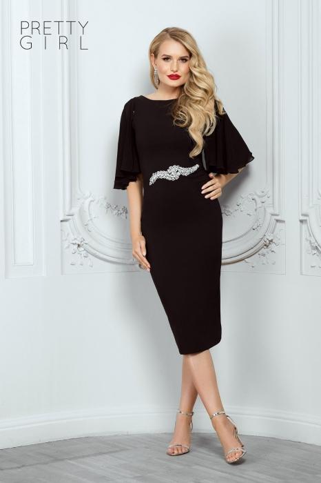 Rochie midi neagra eleganta Helene 0