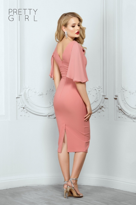 Rochie midi roz eleganta Helene 1