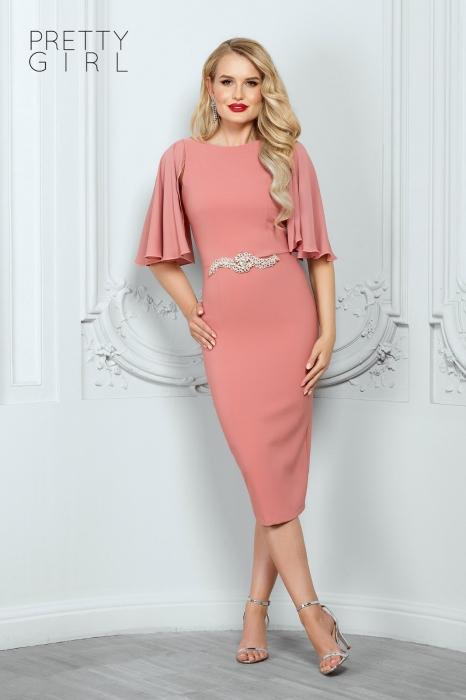 Rochie midi roz eleganta Helene 0