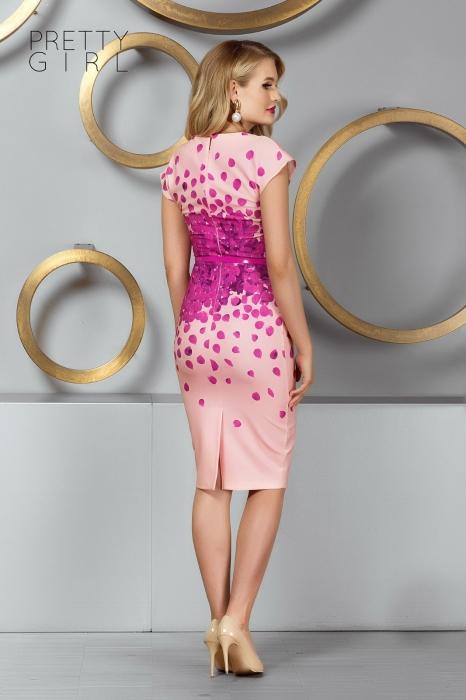 Rochie roz midi tip creion Caliope 1