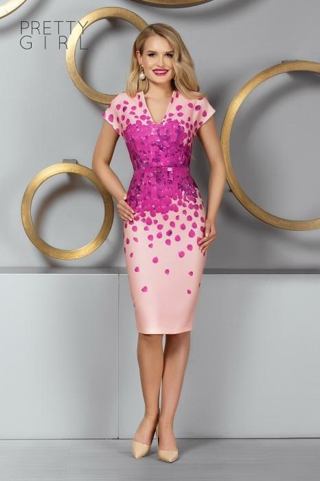 Rochie roz midi tip creion Caliope 0