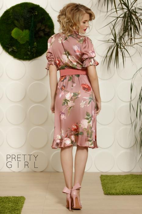 Rochie roz office cu imprimeu floral Helga 1