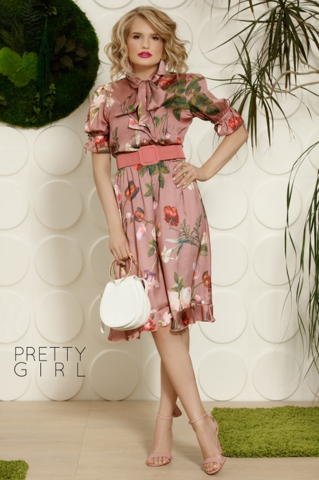 Rochie roz office cu imprimeu floral Helga 0