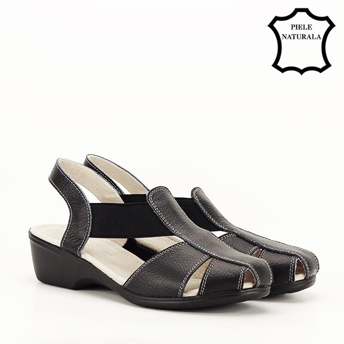 Sandale negre din piele naturala Codruta [2]