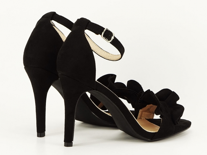 Sandale elegante negre cu toc FLowers 1