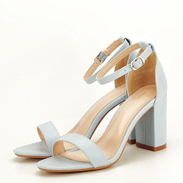 Sandale albastre cu toc gros Ingrid [0]