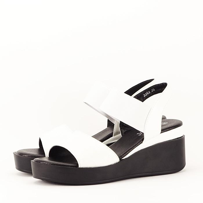 Sandale albe cu platforma Beth 2