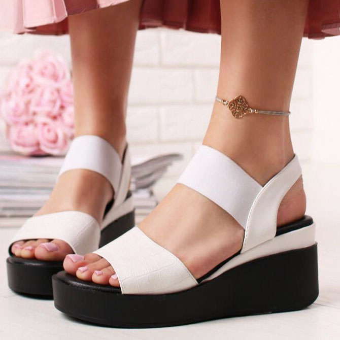 Sandale albe cu platforma Beth 0