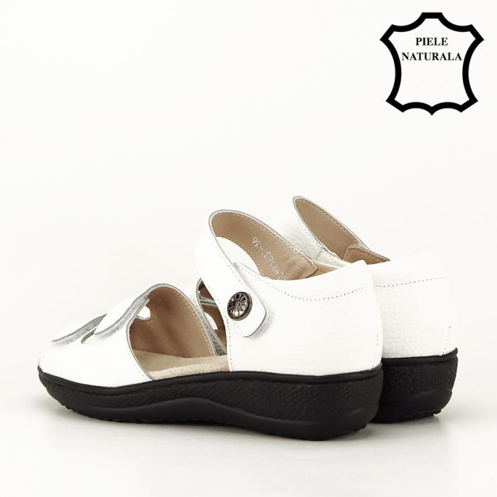 Sandale albe din piele naturala Agata [3]