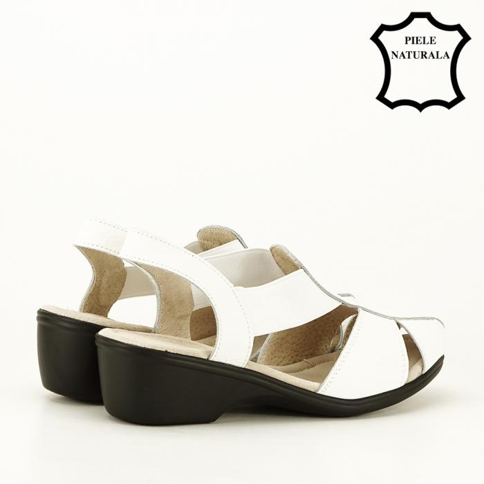 Sandale albe din piele naturala Codruta [2]