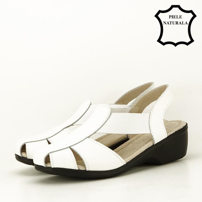 Sandale albe din piele naturala Codruta [1]