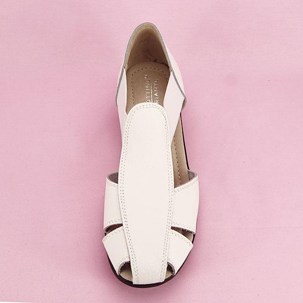 Sandale albe din piele naturala Calypso [6]