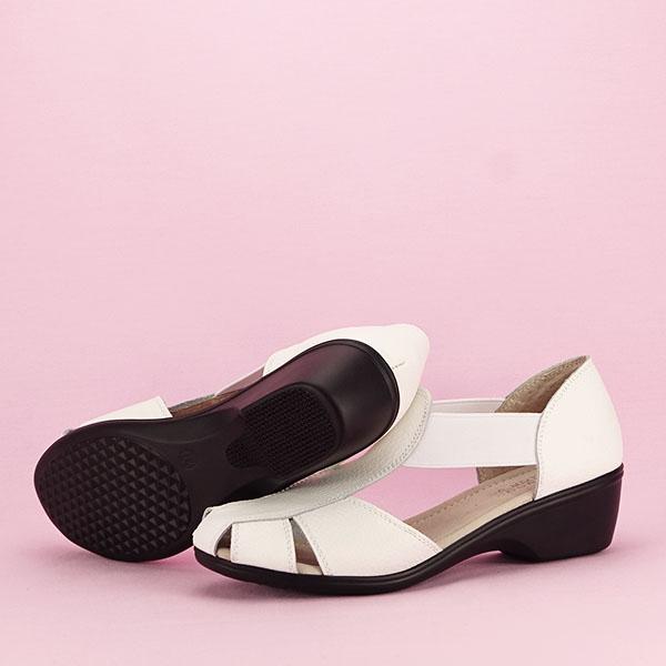 Sandale albe din piele naturala Calypso [7]