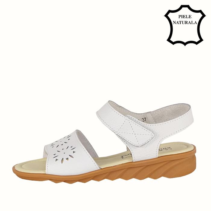 Sandale albe din piele naturala Catis 1