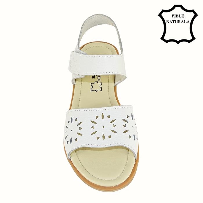 Sandale albe din piele naturala Catis 4