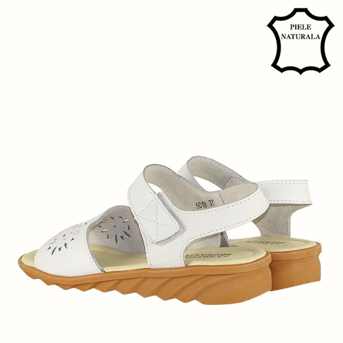 Sandale albe din piele naturala Catis 2