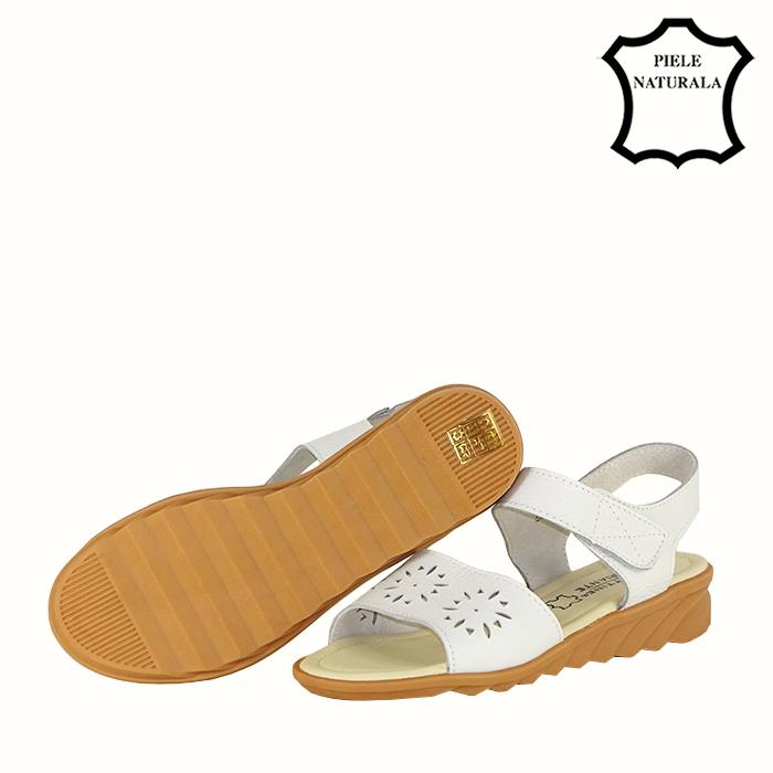 Sandale albe din piele naturala Catis 3