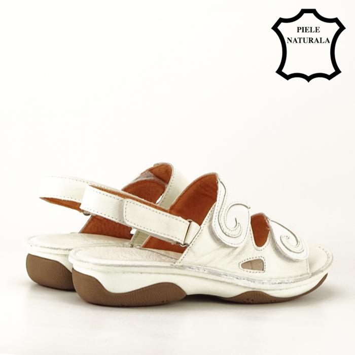 Sandale albe din piele naturala Florina [3]
