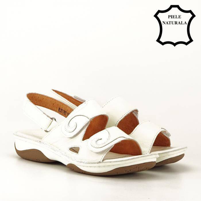 Sandale albe din piele naturala Florina [7]