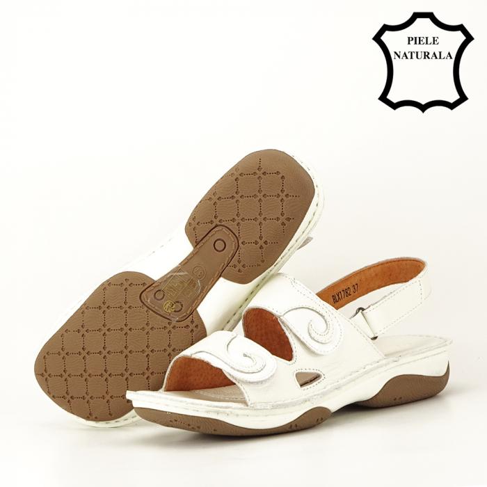Sandale albe din piele naturala Florina [5]