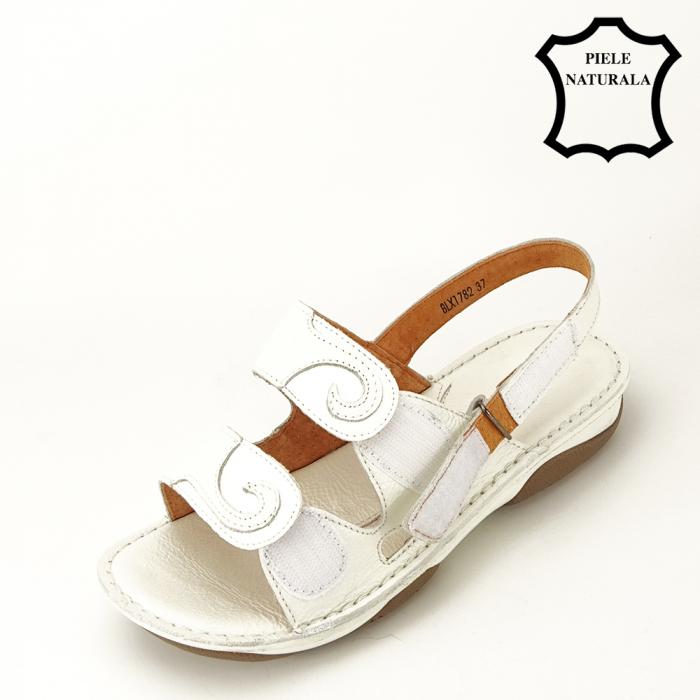 Sandale albe din piele naturala Florina [6]