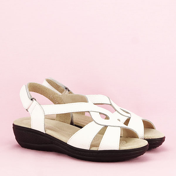 Sandale albe din piele naturala Mabel [2]