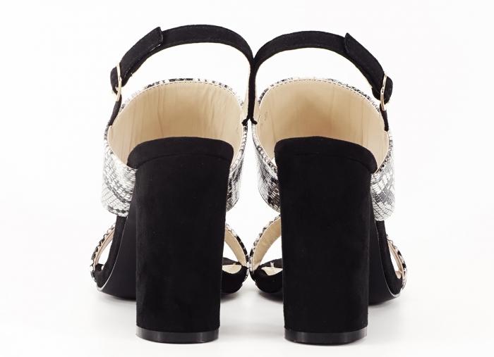 Sandale dama cu imprimeu de sarpe si toc inalt Cassiana 1