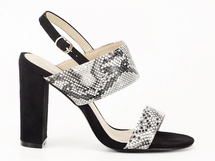 Sandale dama cu imprimeu de sarpe si toc inalt Cassiana 0