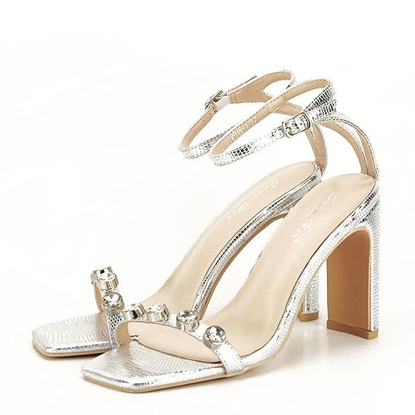 Sandale argintii cu imprimeu Lola [0]