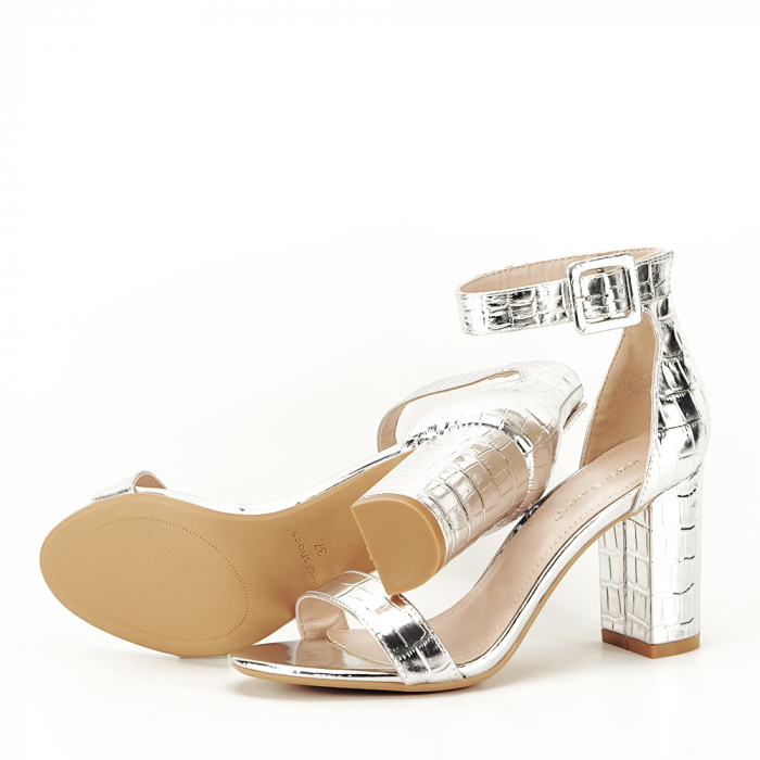 Sandale argintii cu imprimeu reptila Miruna [3]