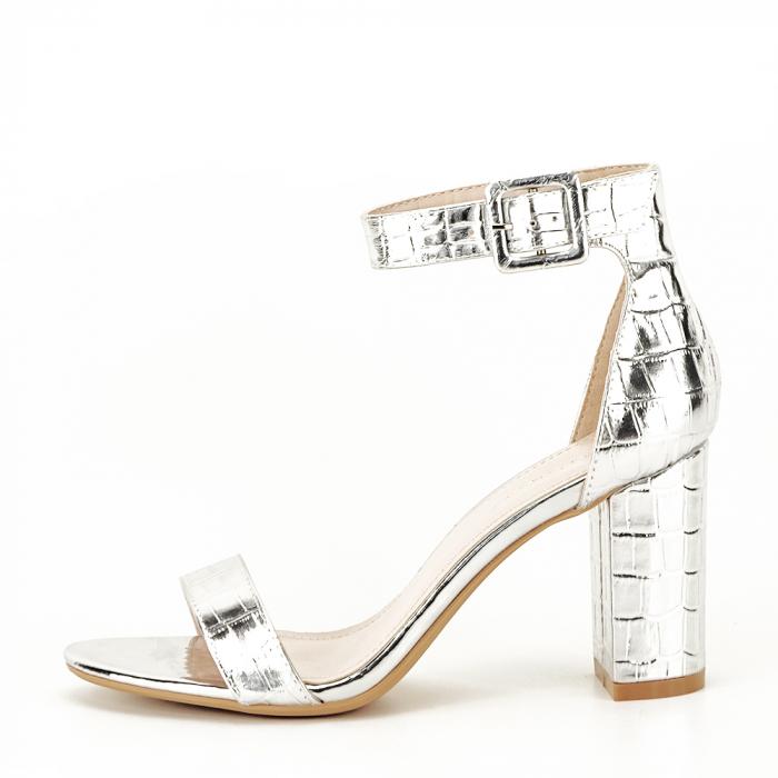 Sandale argintii cu imprimeu reptila Miruna [0]