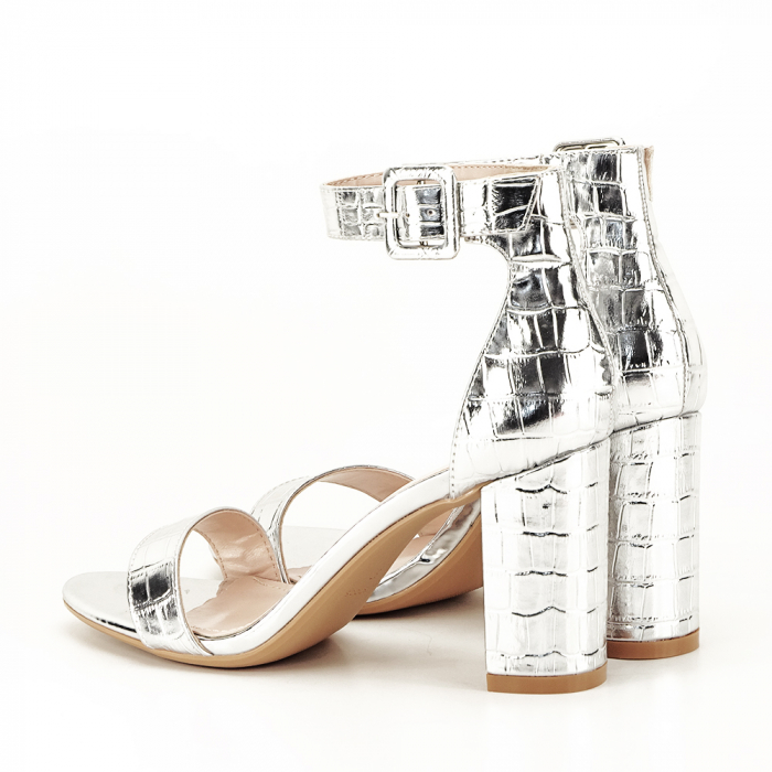 Sandale argintii cu imprimeu reptila Miruna [6]