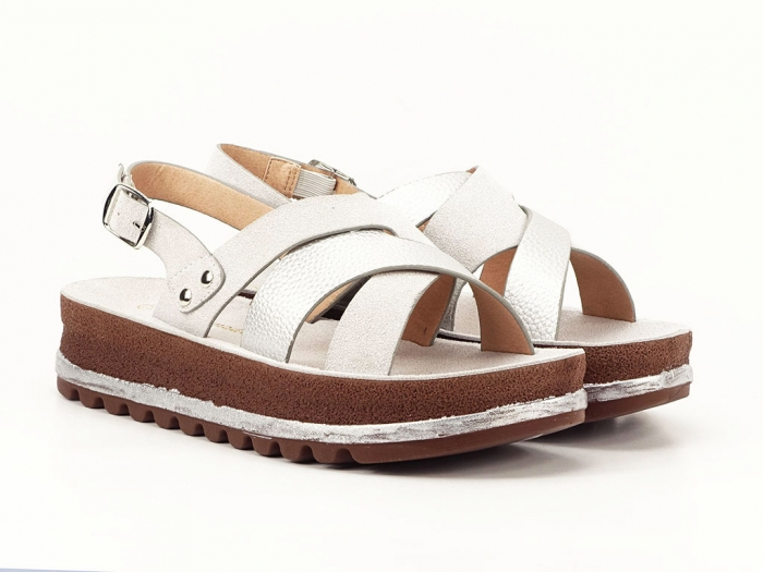 Sandale dama arginti cu talpa joasa Sorento 0
