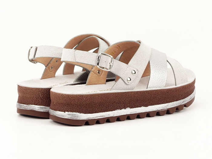 Sandale dama arginti cu talpa joasa Sorento 4