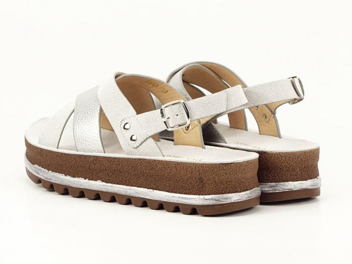 Sandale dama arginti cu talpa joasa Sorento 6